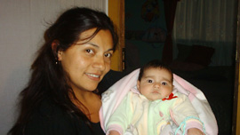 Film subject Catherin Bernal with her baby