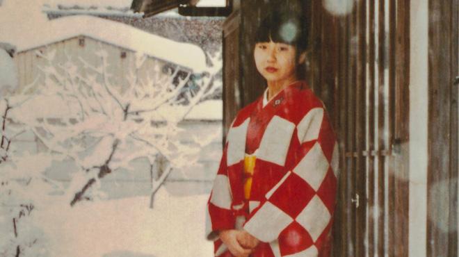 Megumi Yokota in her mother's kimono outside her home in Niigata, Japan.