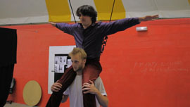 Rehearsing together for the first time, Fabrice is on Alex's shoulders