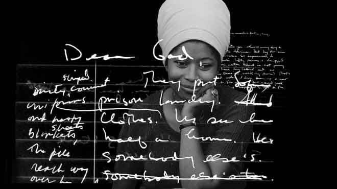 From the film Beauty in Truth, a black and white image of Alice Walker with white handwritten text superimposed over her