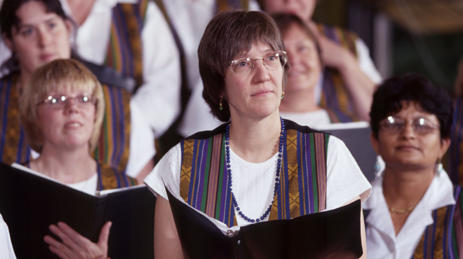 Members of the Amasong Chorus in dress rehearsal