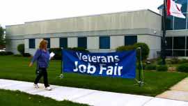 Cindy attends a Veterans Job Fair in hopes to find a job.