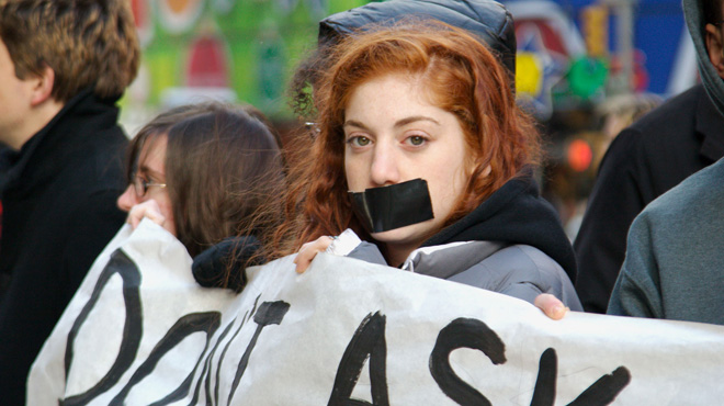 """A Vassar student protests the """"Don't Ask Don't Tell"""" policy outside a recruiting center in Times Square"""