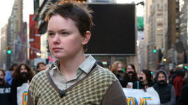 Right to Serve co-director Haven Herrin protests the Don't Ask Don't Tell policy in New York City