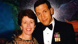 Al Steinman and his friend Mireille Key attend a formal Coast Guard event