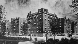 Artist's rendering of the United Workers Cooperative Colony, aka the Coops, in about 1926