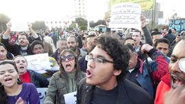Nour Noor Chanting at a Protest.