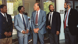 Thabo Mbeki (center), Jacob Zuma (right) and Terror Lekota (left) in negotiations 