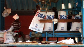U.S. aid sacks at Djibouti depot