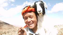 Mir and goat in the mountains, age 14