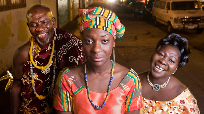 "Rocky Otoo, 17, center, stands with her father, Nii Adjedu, and her mother ""Auntie"" Yaa Otoo"