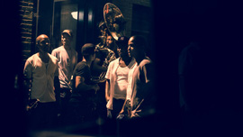 Hypnotic Brass Ensemble in rear view mirror