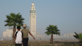 Two boys outside a Casablanca mosque.