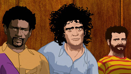 The defendants of the 1968 Conspiracy Trial: Bobby Seale, Abbie Hoffman and Jerry Rubin