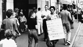 Daisy Bates picketing in Little Rock