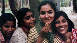 Harleen Walia (center), assistant director of Sanlaap, a rescue and rehab center for young girls in Calcutta