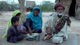 Family having dinner in Pakistan