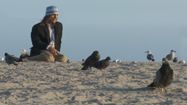 Jeffrey with his pigeon and other birds on Venice Beach