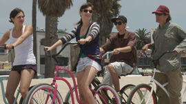 JoEllen, Roxanne, Fletcher and Jeffrey go cycling in Venice Beach