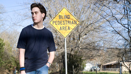 Isaac at the Blind Pedestrian Area in Paris, Texas