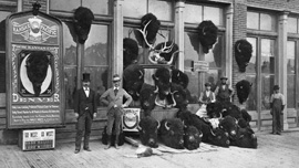 Photo of a collection of bison heads killed from the Kansas Pacific Railway