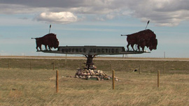 """Buffalo Junction"" sign near Head Smashed in Buffalo Jump, southern Alberta, Canada"
