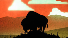 Animation still of a bison in silhouette on a grassy knoll, animated by Andy Smetanka