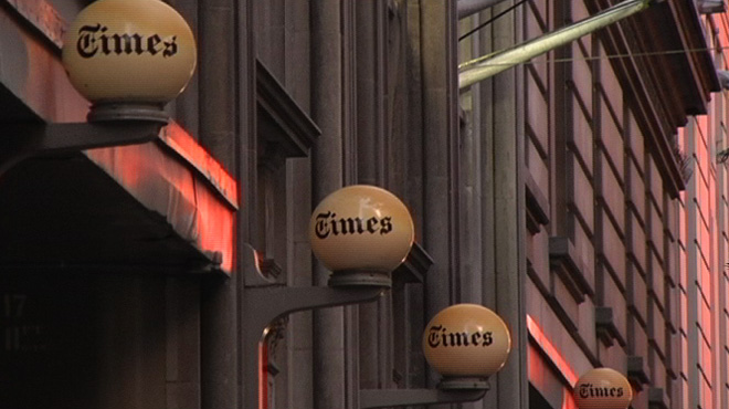 Outside the offices of the New York Times