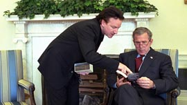 Bono meets President George W. Bush in the White House.