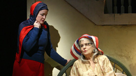 "Christine Ebersole as ""Little Edie"" and Mary Louise Wilson as ""Big Edie"" in Grey Gardens the Musical on Broadway"