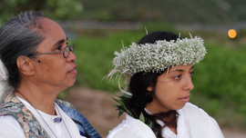 Christen and her mother after celebrating the beginning of a new day with a chant a Makapu'u.