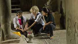 Meg Ryan with Somana Long and Srey Pov at Angkor Wat in Siem Reap, Cambodia