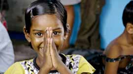 Girl at New Light Crèche in Kolkata, India
