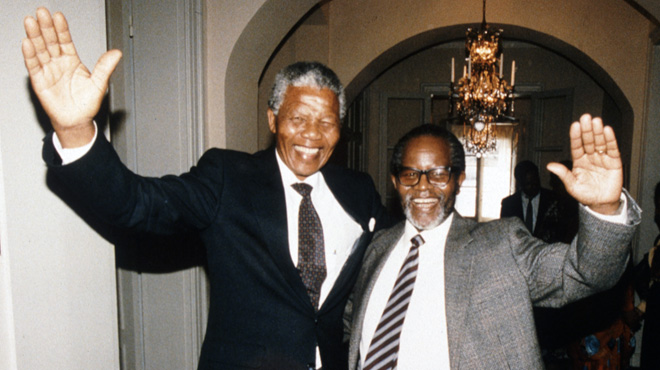 Nelson Mandela and Oliver Tambo reunion in Sweden, 1990
