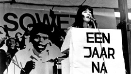 Conny Braam addressing an anti-apartheid rally