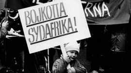 Boycott South Africa demonstration in Stockholm, Sweden, 1985