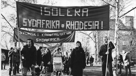 Demonstration against South Africa and Rhodesia, Luleå, Sweden, 1977