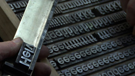 A scene from Helvetica shot at Manfred Schulz' letterpress in Frankfurt