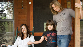 Kristen Neff, Rupert Isaacson and Rowan Isaacson at home in Texas