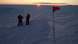 The sunrise over the Ross Ice Shelf in Antarctica