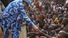 President of Liberia Ellen Johnson Sirleaf in a sea of children