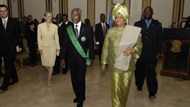 President of Liberia Ellen Johnson Sirleaf with the President of South Africa Thabo Mbeki