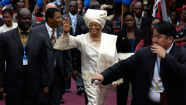President of Liberia Ellen Johnson Sirleaf at her inauguration