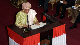 President of Liberia Ellen Johnson Sirleaf at the mic