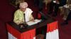 President of Liberia Ellen Johnson Sirleaf at the mic