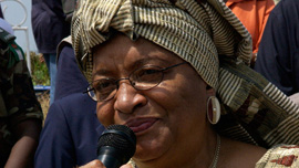 President of Liberia Ellen Johnson Sirleaf on the mic