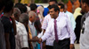 President Mohamed Nasheed greets residents of an island in the northern Maldives.