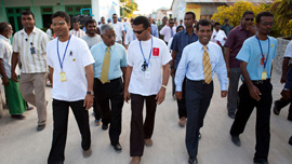 President Mohamed Nasheed visits an island in the northern Maldives.