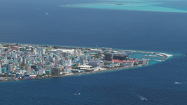 Aerial photograph of a corner of Male', the capital city of the Maldives