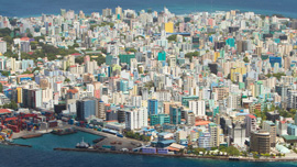 Aerial view showing the density of Male', the capital of the Maldives